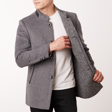 Paolo Lercara // Stand Collar Jacket // Medium Grey (US: 34R)