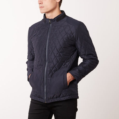Quilted Elbow Patch Jacket // Navy (S)