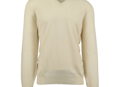 Photo of CLEARANCE: Outerwear We've Got You Covered Cashmere Knit V-Neck Sweater //Beige (Euro: 54) by Touch Of Modern