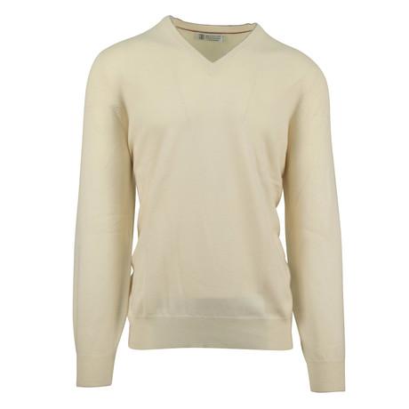 Cashmere Knit V-Neck Sweater //Beige (Euro: 54)