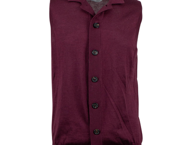 Brunello Cucinelli Refined & Sophisticated Sweaters Cashmere-Silk Cardigan Sweater Vest // Burgundy (Euro: 50) by Touch Of Modern - Denver Outlet