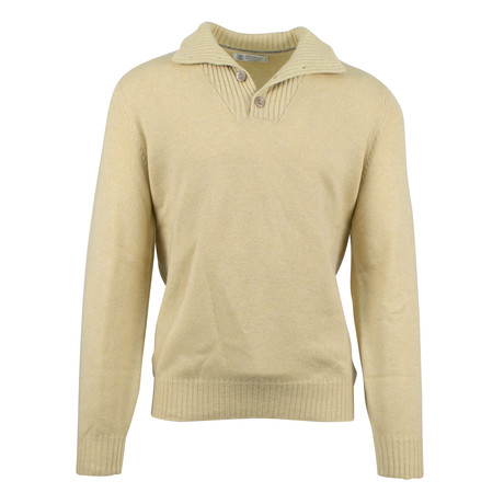 Cashmere Thick Knit Polo Sweater // Yellow (Euro: 50)