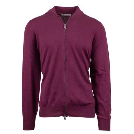 Brunello Cucinelli // Cotton Knit Zip-Up Sweater // Purple (Euro: 54)