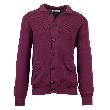 Cotton Thick Knit Cardigan Sweater // Maroon Purple (Euro: 54)