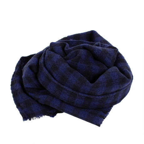 Drake's // Checked 100% Wool Scarf // Blue (Blue)