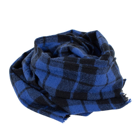 Drake's // Plaid Wool Scarf // Blue + Black (OS)