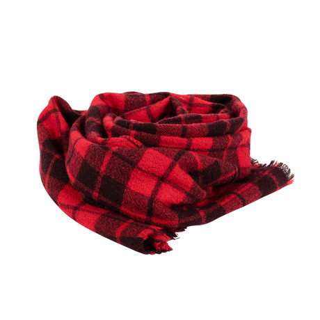 Drake's // Plaid Wool Scarf // Red (OS)
