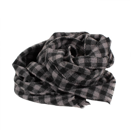 Drake's // Checked Wool Scarf // Gray (Gray)