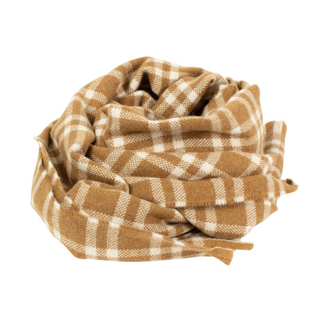 Drake's // Unisex Plaid Lambs Wool Angora Scarf // Brown