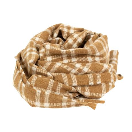 Drake's // Plaid Lambs Wool Angora Scarf // Brown (Brown)