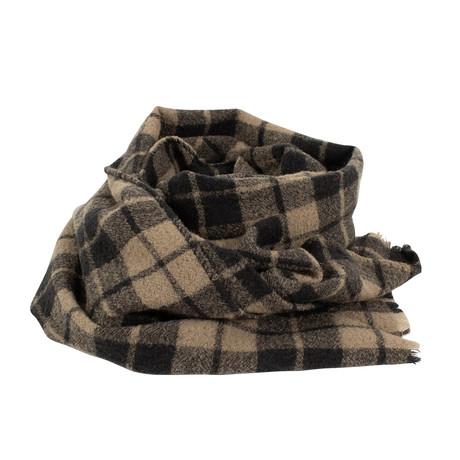 Drake's // Unisex Plaid Wool Scarf // Beige