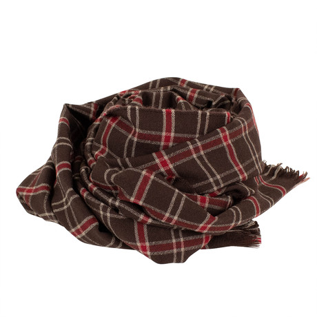 Drake's // Plaid Merino Wool Scarf // Brown (Brown)