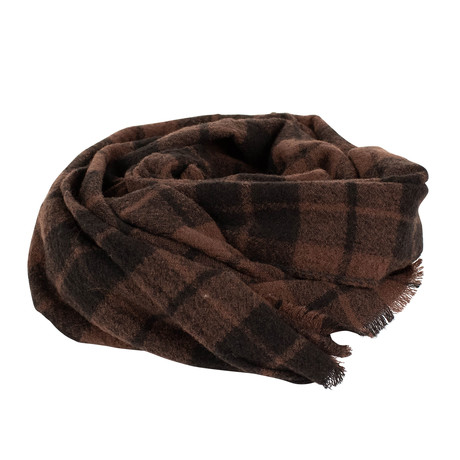 Drake's // Unisex Plaid Wool Scarf // Brown