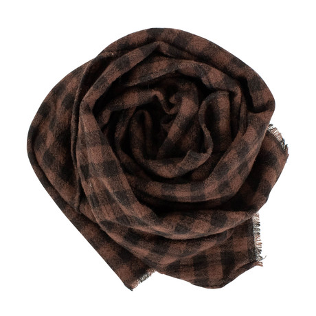 Drake's // Unisex Checked Wool Scarf // Brown