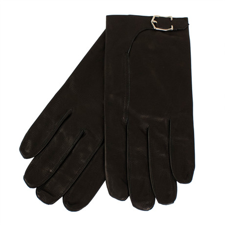 John Lobb // Unisex Buckled Calfskin Leather Gloves // Black (S)