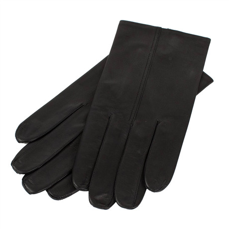 John Lobb // Unisex Calfskin Leather Gloves // Black (M)