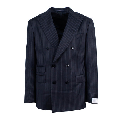 Pal Zileri // Stripe Double Breasted Suit // Black (Euro: 46)
