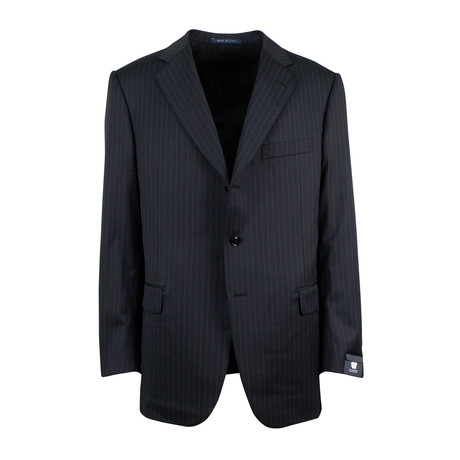 Pal Zileri // Striped Wool Three Button Suit // Black (Euro: 46)