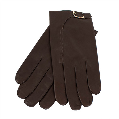 John Lobb // Unisex Buckled Calfskin Leather Gloves // Brown (S)