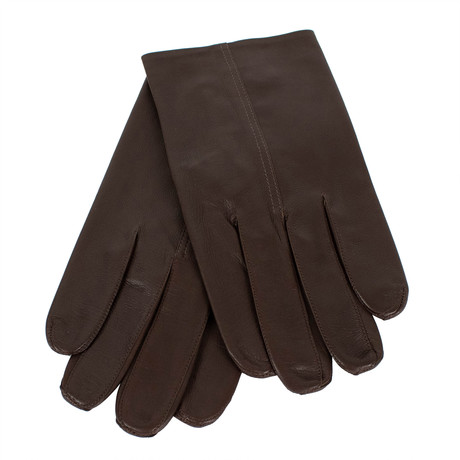 John Lobb // Unisex Calfskin Leather Gloves // Brown (L)