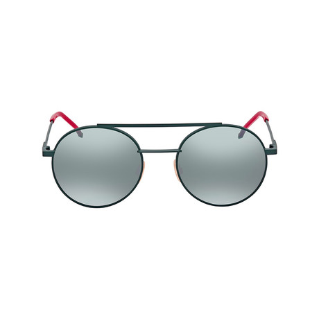 Fendi // Men's Round Metal Sunglasses // Khaki + Mirror Blue
