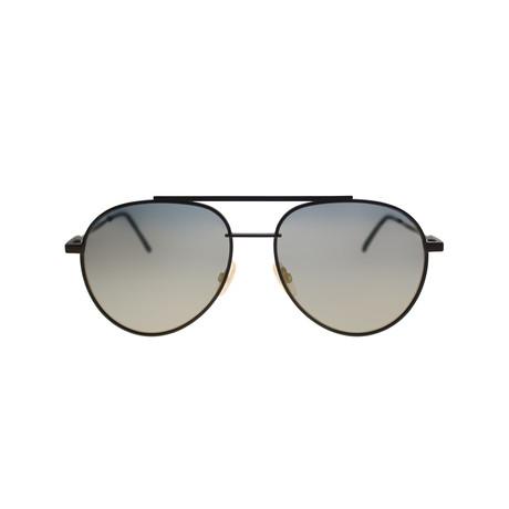 Fendi // Men's Metal Aviator Sunglasses // Brown Metal + Gold Mirror