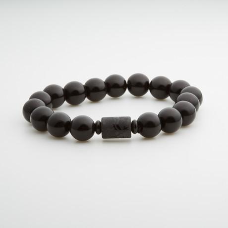 Jean Claude Jewelry // Obsidian Bracelet + Buddha Amulet // Black