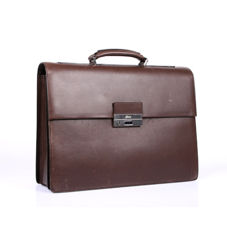 Brioni Leather Breifcase // Brown