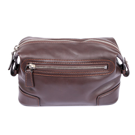 Leather Double Zipper Personal Care Case // Brown