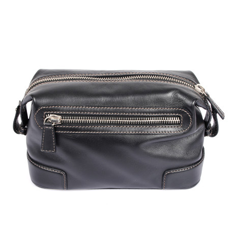 Leather Double Zipper Personal Care Case // Black