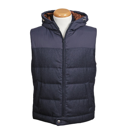 Two Tone Puffer Vest // Blue (XS)