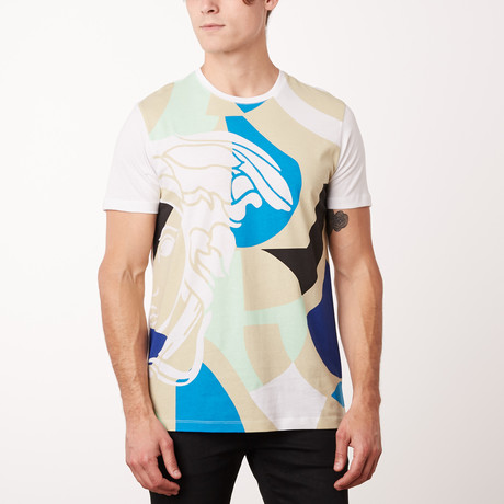 Versace Collection T-Shirt // White + Tan + Teal (S)