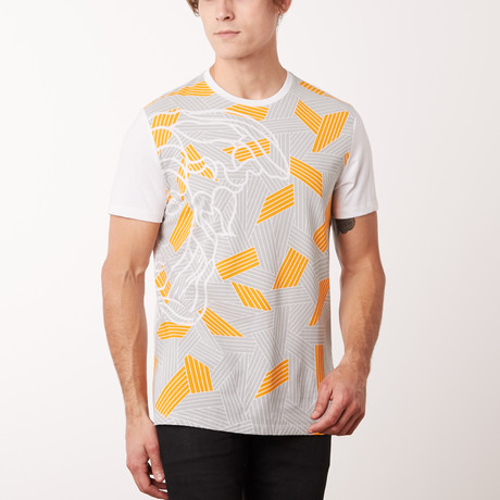 Woven Medusa T-Shirt // White + Gray + Orange (S)