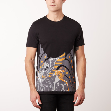 Versace Collection T-Shirt // Black + Gray + Orange (S)