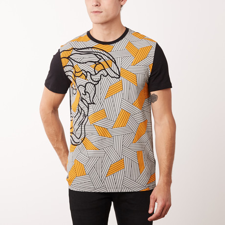 Woven Medusa T-Shirt // Black + Gray + Orange (S)