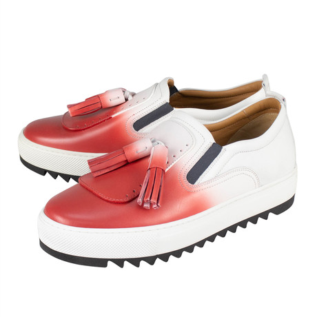 Salvatore Ferragamo // Lucca 6 Red And White Sneakers // White (US: 10)