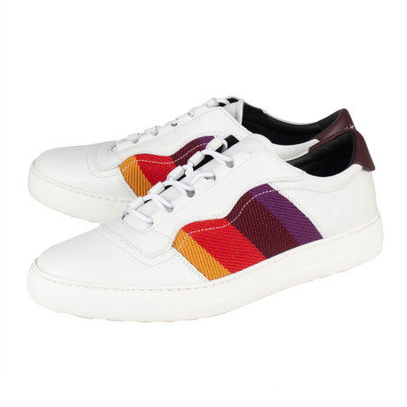 Salvatore Ferragamo // Divo Leather Stripe Sneakers // White (US: 10)