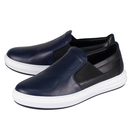 Salvatore Ferragamo // Dallas Leather Slip On Sneakers // Blue (US: 10)