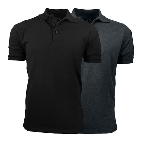 2-Pack Pique Polo // Black + Charcoal (S)