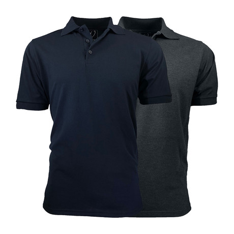 2-Pack Pique Polo // Navy + Charcoal (S)