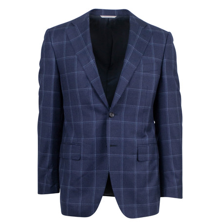 Canali // Windowpane Wool Classic fit Suit // Blue (US: 46S)