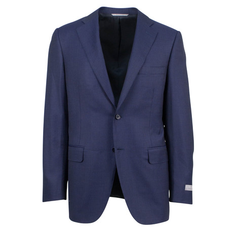Canali // Striped Wool Relaxed Fit Suit // Blue (US: 46S)