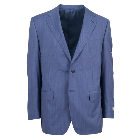Canali // Pinstripe Wool Relaxed Fit Suit // Blue (US: 46S)