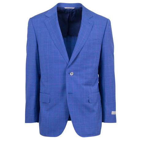 Canali // Houndstooth Wool 2 Button Relaxed Fit Suit // Blue (US: 46S)