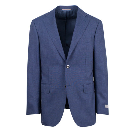 Canali // Houndstooth Wool Slim Fit Suit // Blue (US: 46S)