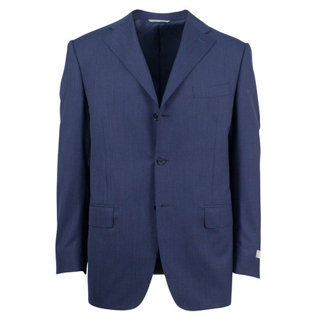 Canali // Striped Wool 3 Button Relaxed Fit Suit // Blue (US: 46S)