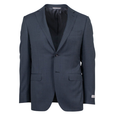 Canali // Micro-Check Wool Trim Fit Suit // Gray (US: 46S)