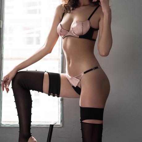Diamond Bra // Pink + Black (S)