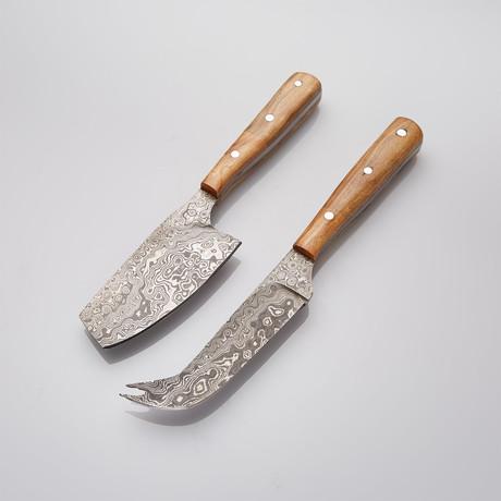 Olive Wood Cheese Knife Set // Set Of 2