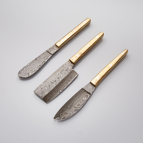 Brass Cheese Knife Set // Set Of 3
